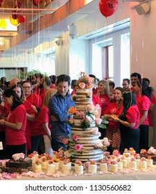 NEW YORK, July 9, 2018 -- Jon Oringer, Founder and CEO, stands behind the 15th year anniversary cake of Shutterstock, Inc. (NYSE: SSTK), surrounded by employees in the NYC headquarters.