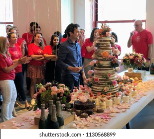 NEW YORK, July 9, 2018 -- Jon Oringer, Founder and CEO, slices the 15th year anniversary cake of Shutterstock, Inc. (NYSE: SSTK), surrounded by employees in the NYC headquarters.