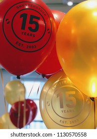 "NEW YORK, July 9, 2018 -- ""Shutterstock / 15 Years / Est. 2003"" on red and gold balloons in the Empire State Building in celebration of the 15th anniversary of Shutterstock, Inc. (NYSE: SSTK)."