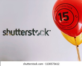 "NEW YORK, July 9, 2018 -- Shutterstock logo and ""Shutterstock / 15 Years / Est. 2003"" balloons in the NYC headquarters in celebration of the 15th anniversary of Shutterstock, Inc. (NYSE: SSTK)."