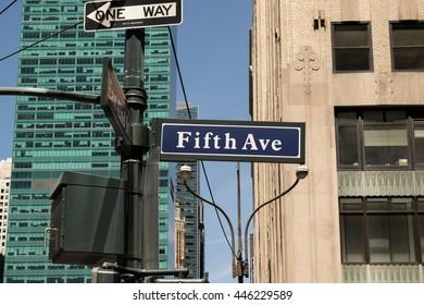 New York, Jun 2016: Street sign Fith Avenue