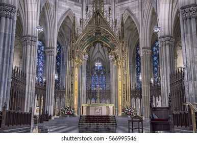 NEW YORK - JUN 29: Intricate details of Patrick Cathedral , NY on May 29, 2016 in  NY