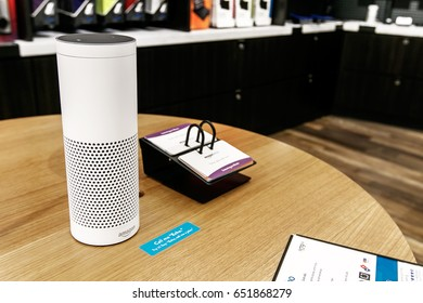 New York, June 1, 2017: Amazon Echo stands on display on a table in a newly opened Amazon Books store in Time Warner Center.