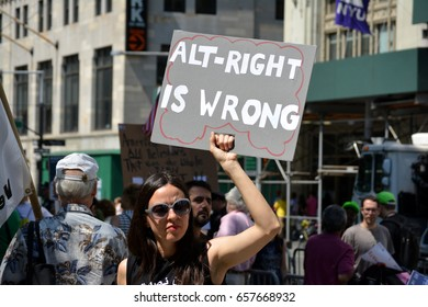New York, New York. - June 10, 2017: People holding signs supporting Islam to protest a march against Sharia in Lower Manhattan in 2017.