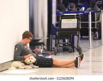 NEW YORK- JUNE 10, 2018: Unidentified traveler with dog inside of JetBlue Terminal 5 at John F Kennedy International Airport in New York