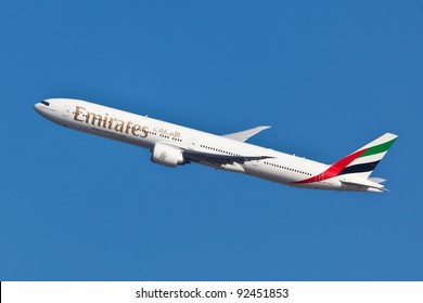 NEW YORK - JUNE 10: Boeing 777 Emirates climbs after take off from JFK airport located in New York, June 10, 2011. Emirates is rated as a top10 best airline in the world flying on youngest fleet