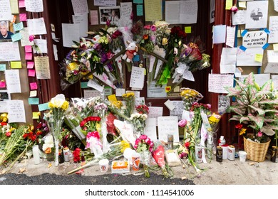 NEW YORK - JUNE 10:  Flowers and Photo Memorabilia are placed in Honor of The Death of Anthony Bourdain in Front of Les Halles Restaurant June 10, 2018 in New York City. (Photo by Donald Bowers )