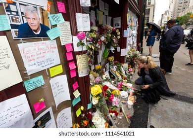 NEW YORK - JUNE 10:  People Gather To Pay Repects In Honor of The Death of Anthony Bourdain in Front of Les Halles Restaurant June 10, 2018 in New York City. (Photo by Donald Bowers )