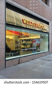 NEW YORK - JUNE 10: Wells Fargo Bank branch on June 10, 2013 in New York. Wells Fargo was the 23rd largest company in the United States in 2011 (by revenues).