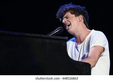 NEW YORK - JUNE 11, 2016:  Charlie Puth performs during the Summer Jam concert at the Jones Beach Theater on June 11, 2016 in New York.