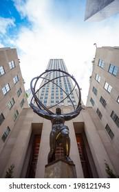 NEW YORK - JUNE 11: Atlas Statue at Rockefeller Center on June 11, 2014 in New York. The Atlas Statue is a bronze statue in front of Rockefeller Center in midtown Manhattan, New York City.