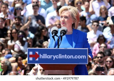 NEW YORK - June 13, 2015: Hillary Clinton appears on stage during the Hillary For America campaign launch event at Four Freedoms Park on June 13, 2015 in New York City.
