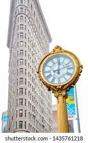 New York -  June 14 2019 Flatiron building with old style clock