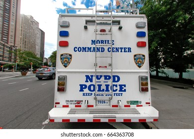 New York, June 15, 2017: NYPD mobile command center is parked by the Lincoln Center.