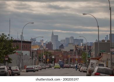 NEW YORK - JUNE 15: A Bushwick street on June 15th, 2014 in Bushwick Brooklyn. Bushwick's major commercial streets are Knickerbocker Avenue, Myrtle Avenue, Wyckoff Avenue, and Broadway.