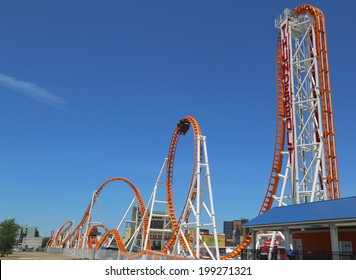 NEW YORK - JUNE 15: The Thunderbolt roller coaster on June 15, 2014 at Coney Island in Brooklyn. The original Thunderbolt operated from 1920s through the early 1980s, it was reopened on June 14, 2014