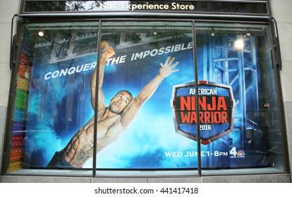 NEW YORK - JUNE 16, 2016: NBC Experience Store window display decorated with American Ninja Warrior 2016 logo in Rockefeller Center in Midtown Manhattan