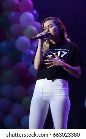 NEW YORK - JUNE 16, 2017:  Miley Cyrus performs during the Summer Jam concert at the Jones Beach Theater on June 16, 2017 in New York.
