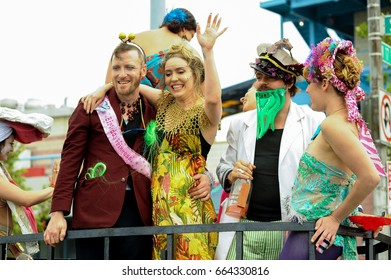 NEW YORK - JUNE 17, 2017: Participants march in the 35th Annual Mermaid Parade at Coney Island, the largest parade in the nation and a celebration of ancient mythology on June 17, 2017 in Brooklyn NY