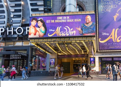 New York - June 2, 2018: Aladdin - The Musical front