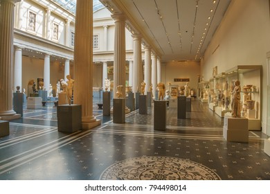 NEW YORK, NEW YORK - JUNE 2016: Exhibition of Greek Art of the fifth and early fourth centuries B.C. at Metropolitan Museum of Art. The Met is the largest art museum in the United States
