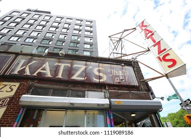 NEW YORK - JUNE 21, 2018: Historical Katz's Delicatessen (est. 1888), a famous restaurant, known for its Pastrami sandwiches in Lower East Side in Manhattan