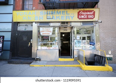 NEW YORK - JUNE 21, 2018: The original Yonah Shimmel's knish bakery in Lower East Side in Manhattan since 1910