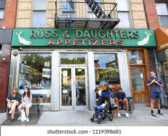 NEW YORK - JUNE 21, 2018: Famous Russ & Daughters appetizing store opened in 1914 in Lower East Side in Manhattan