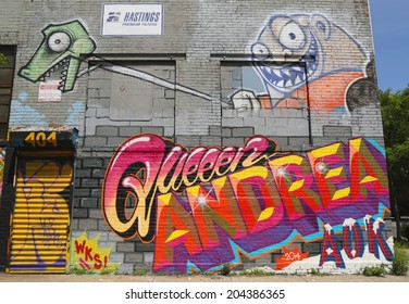 NEW YORK -JUNE 21: Mural in Williamsburg section in Brooklyn on June 21, 2014. Williamsburg is an influential hub of current indie rock, hipster culture, and the local art community