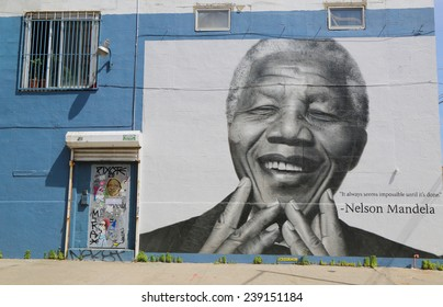NEW YORK - JUNE 21: Nelson Mandela mural in Williamsburg section in Brooklyn on June 21, 2014. This mural does not exist any more.