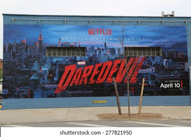 NEW YORK -JUNE 21: Netflix Daredevil mural in Williamsburg section in Brooklyn on June 21, 2014. Williamsburg is an influential hub of current indie rock, hipster culture, and the local art community