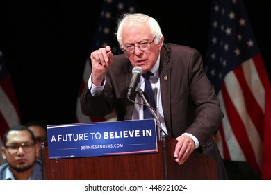 NEW YORK - June 23, 2016: Bernie Sanders speaks during a rally at Town Hall on June 23, 2016 in New York City.