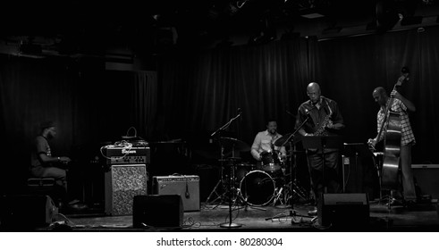 NEW YORK - JUNE 23: Band Tarbaby Orrin Evans piano, Nasheem Waits drums, Oliver Lake alt sax, Eric Revis bass performs at Le Poisson Rouge as part of annual Undead Jazz Festival on Jun 23, 2011 in NYC