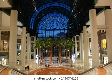 NEW YORK - JUNE 24, 2019: The view from inside Brookfield Place in Lower Manhattan near Battery Park