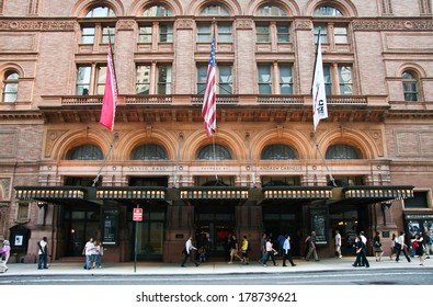 NEW YORK - JUNE 24: Carnegie Hall, shot of facade. On June 24, 2008, NY, USA. Home of the New York Philharmonic Orchestra,  at 57th street and 7th avenue.