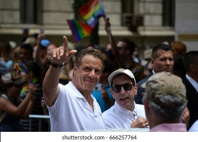 New York, New York. - June 25, 2017: Governor Andrew Cuomo marching in the annual New York City Pride Parade and Festival in Manhattan in 2017.