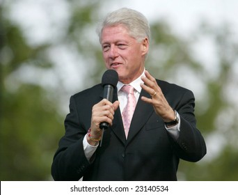 NEW YORK - JUNE 25: Former US President Bill Clinton speaks at the Greater New York Billy Graham Crusade in Flushing Meadow Corona Park June 25, 2005 in the Queens borough of New York City.