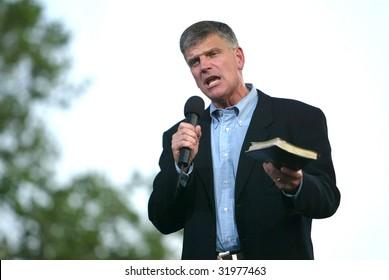 NEW YORK - JUNE 25: Franklin Graham speaks on the second night of the Billy Graham Crusade at Flushing Meadows Corona Park on June 25, 2005 in Flushing, New York.