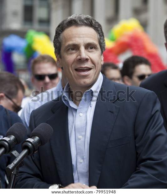 NEW YORK - JUNE 26: New York Governor Andrew Cuomo speaks at press conference at pride parade on June 26, 2011 in New York City, NY.