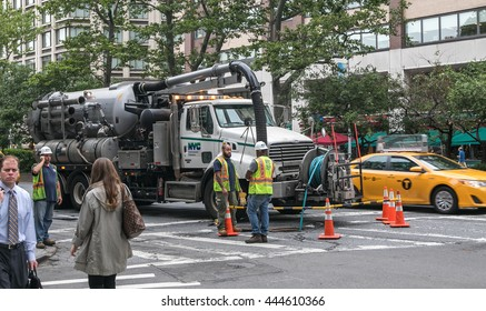 New York, June 27, 2016: Workers performing some maintenance work on Broadway..