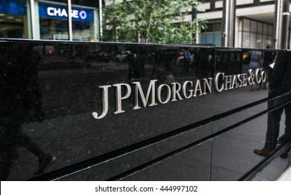New York, June 27, 2016: JP Morgan Chase corporate lettering in front of one of their office locations.