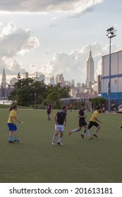 NEW YORK - JUNE 27: Bushwick Inlet Park on June 27th, 2014 in Williamsburg, New York. The park currently features a soccer/football field and a community center.