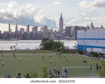 NEW YORK - JUNE 27: Bushwick Inlet Park on June 27th, 2014 in Williamsburg, New York. The park is an innovative, 15,500 square foot multi-use building serving North Brooklyn�s waterfront.