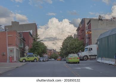 NEW YORK - JUNE 27: Metropolitan Avenue on June 27th, 2014 in Brooklyn, New York. Metropolitan Avenue is a major east-west street in Queens and northern Brooklyn.