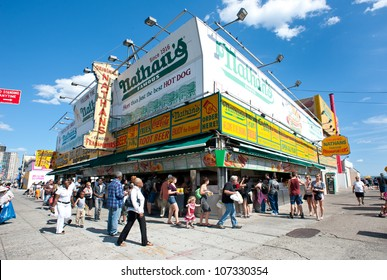 NEW YORK - JUNE 27: The Nathan's shop on June 27, 2012 in Coney Island, New York. Nathan's is a company chain of US restaurants specialized in hot dogs with 425 million Hot Dogs sold in 2011.