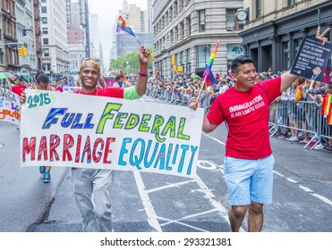 NEW YORK -  JUNE 28 : Participants march in the Gay Pride Parade on June 28, 2015 in New York City The parade is held two days after the U.S. Supreme Court's decision allowing gay marriage in the U.S.