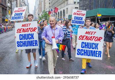 NEW YORK -  JUNE 28 : Senator Chuck Schumer in the Gay Pride Parade on June 28, 2015 in New York. The parade is held two days after the U.S. Supreme Court's decision allowing gay marriage in the U.S.