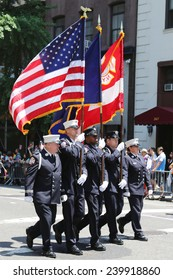 NEW YORK - June 29, 2014: The Color Guard of the Fire Department of New York  during at LGBT Pride Parade in New York on June 29, 2014.