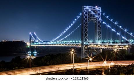 NEW YORK - JUNE 30: George Washington Bridge by night viewed from the Manhattan side on June 30, 2012 in New York.