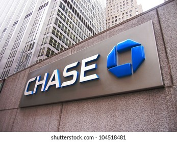 NEW YORK, JUNE 4: The Chase bank sign at One Chase Manhattan Plaza in New York City, June 4, 2012.